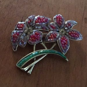 Vintage Beaded Flower Pin